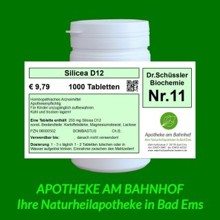 Schüßler Salz Nr11 Silicea D12 1000 Tabletten Bombastus 979