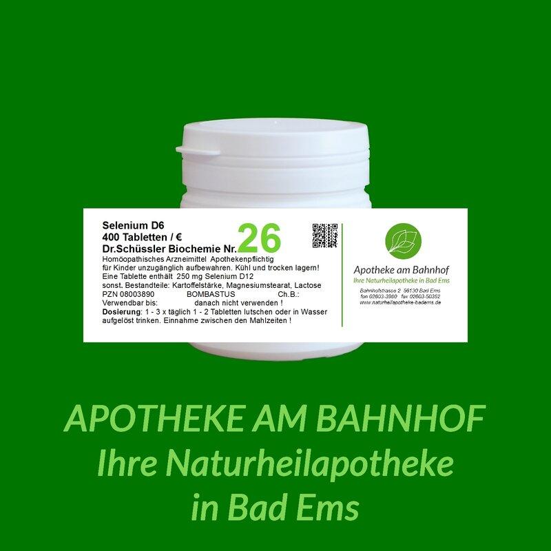Schüssler-só nr.26 selenium D6 Bombastus 400 Tabletta, 6,19